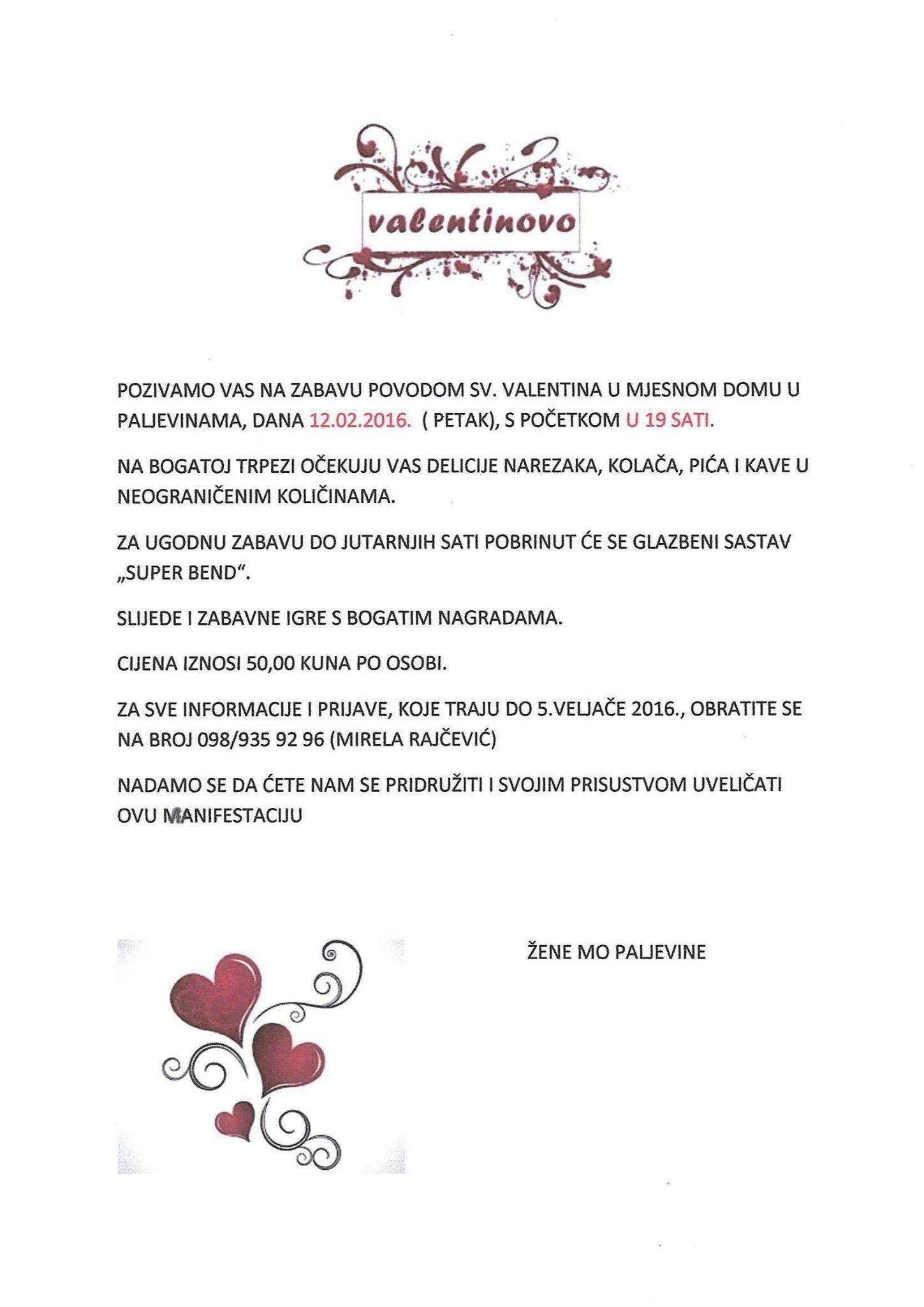 Poziv Valentinovo - žene Paljevina